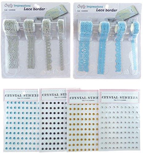 Persoonlijke indrukken kant rand en kristallen stickerset, synthetisch materiaal, multi/kleur