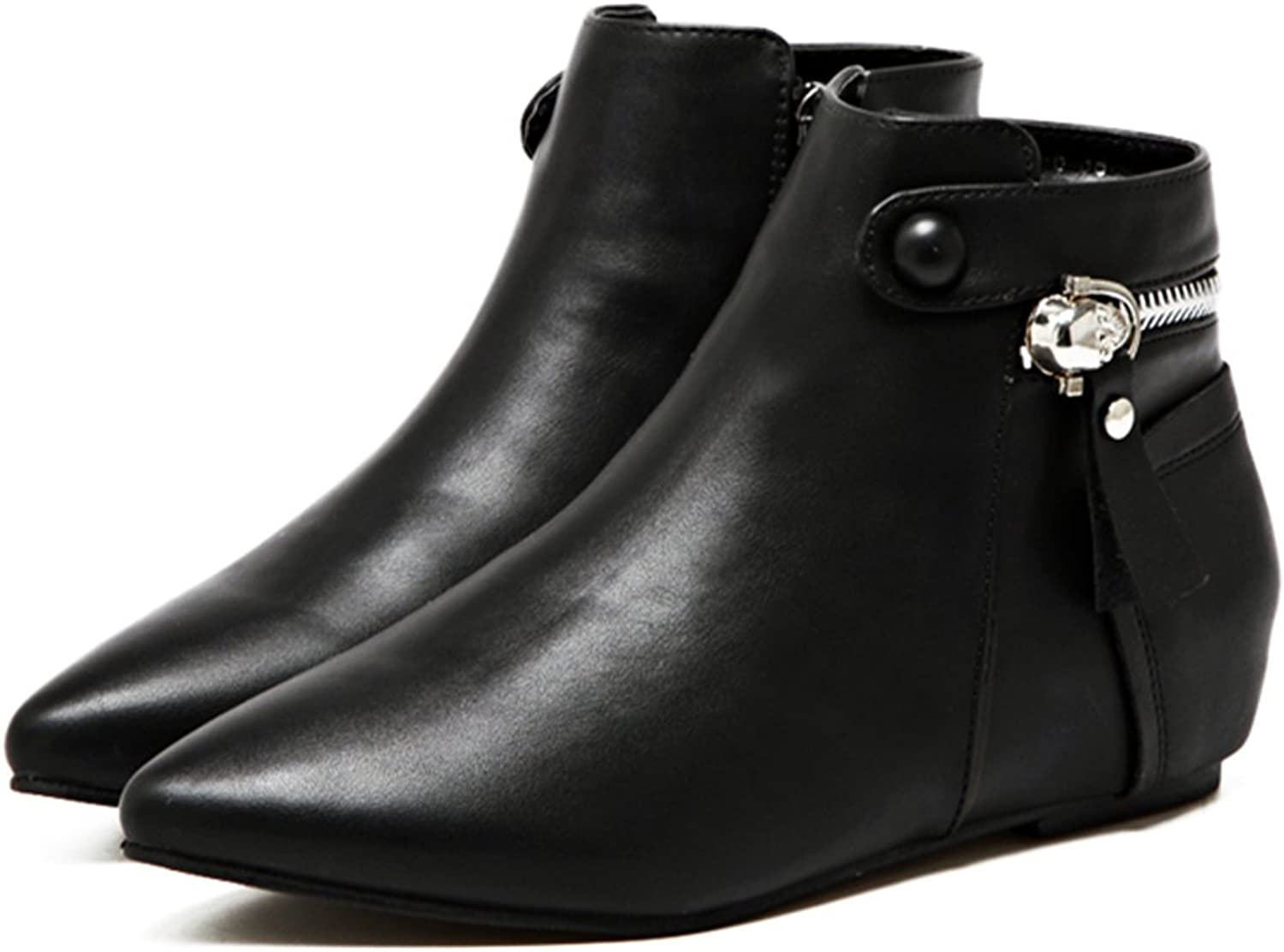 QZUnique Short Ankle Boots Fashion Women's Flat shoes with Skull Zipper