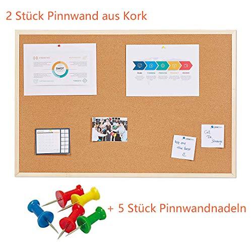 uyoyous 2 piezas tablón de corcho 90 x 60 cm pizarra de corcho Memoboard corcho tablón con marco de madera ideal para oficina escuela y cocina – natural