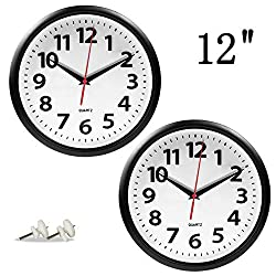 Giftgarden 2 Pack 12 inch Wall Clock Black Silent Non Ticking Quartz Analog Round Clocks for Kitchen Living Room Office Home Decor