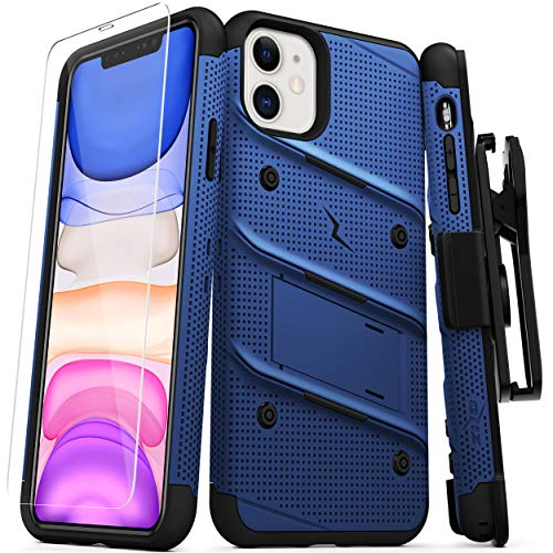 ZIZO Bolt Series iPhone 11 Case - Heavy-Duty Military-Grade Drop Protection w/Kickstand Included Belt Clip Holster Tempered Glass Lanyard - Blue