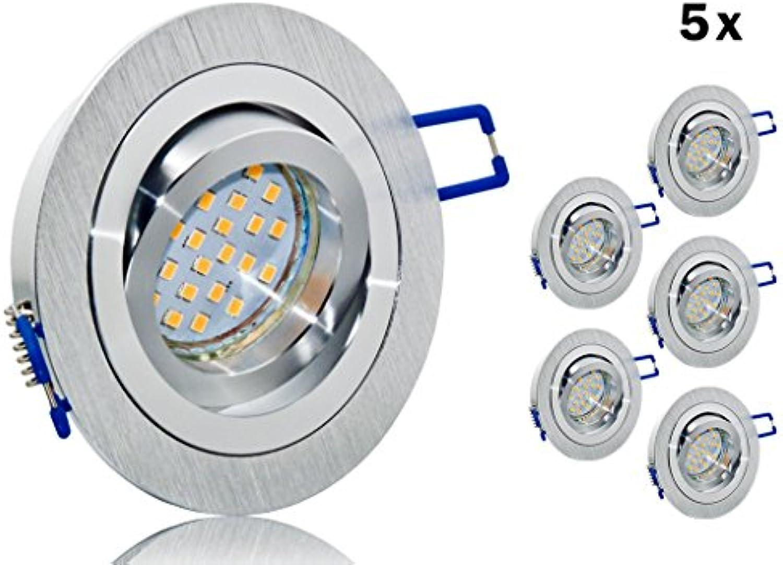 5er LED Einbaustrahler Set mit Marken GU10 LED Spot Nextec 4 Watt Aluminium BiFarbe rund gebürstet Klickverschlu - schwenkbar - 140 ° - warmweiss - 30 Watt Halogenersatz - Einbauleuchte Lampe A+ (5er Set)