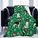 RomaniaGH Christmas Candy Dog with Hat Micro Fleece Blanket Comfy Premium Blanket Thermal Durable Pad Bed Cover Warm Sofa Blankets for All Season 80' x60