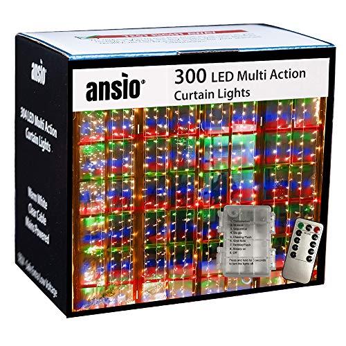 ANSIO 300 LED Cortina Luces, 3 mx 3 m Con Alimentación Por USB, Control Remoto de 8 Modos, Luces Decorativas de Hadas Para Fiesta/Hogar/Boda/Dormitorio/Decoración Navideña - Multicolor