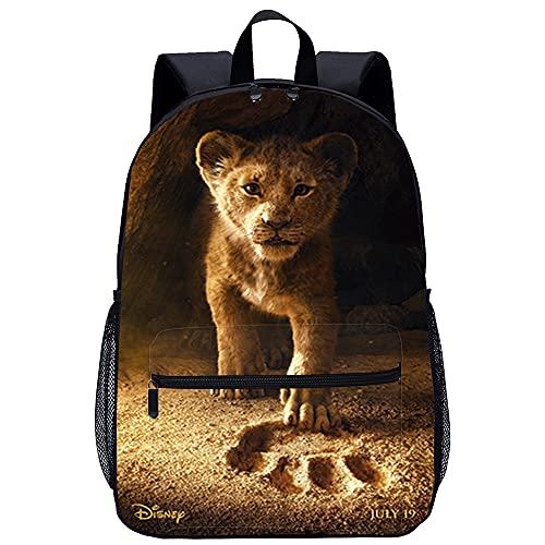 RZYLYHH 3D Imprimé Sac à Dos Enfant College Garçon Cartable Le roi Lion Voyage Camping école Randonnée pour Garçons Filles Taille : 45x30x15 cm/17 pouces Backpack