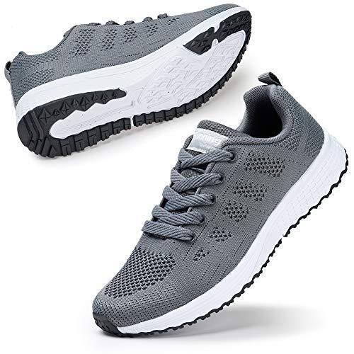 STQ Damen Laufschuhe Freizeit Walking Schuhe Mesh Atmungsaktiv Fitness Casual Schuhe Outdoor Sportshuhe Grau EU38