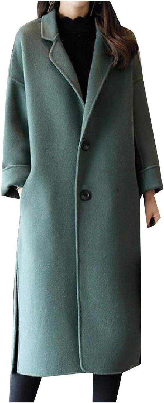 Tryist Womens Wool Blended Longline Trench Lapel TrimFit Coat Overcoat