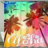 NISENASU Rideau de Douche avec 12 Crochets,Plage d'été Aloha,Large Choix de Beaux Rideaux de Douche,de Haute qualité,imperméable 180 * 180 cm