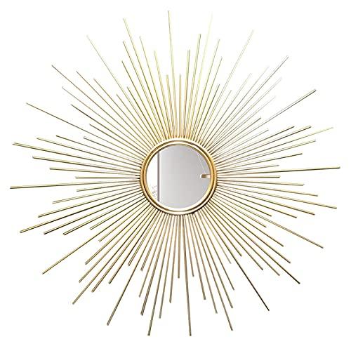 Espejo, Espejo Decorativo para Colgar En La Pared En Forma De Sol, Espejos De Pared Redondos Sunburst En Dorado Cepillado, para La Sala De Estar, El Baño, El Dormitorio Y La Entrada,70CM