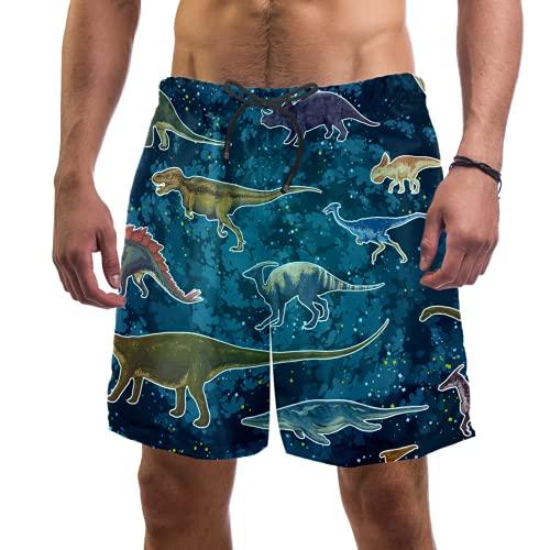 Bañador para hombre, diseño de dinosaurio, con 2 bolsillos, forro de malla transpirable, secado rápido