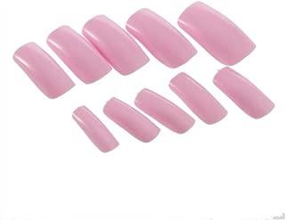 enForten 500pcs Pink French Acrylic Artificial Full Cover False Nails Art Tips