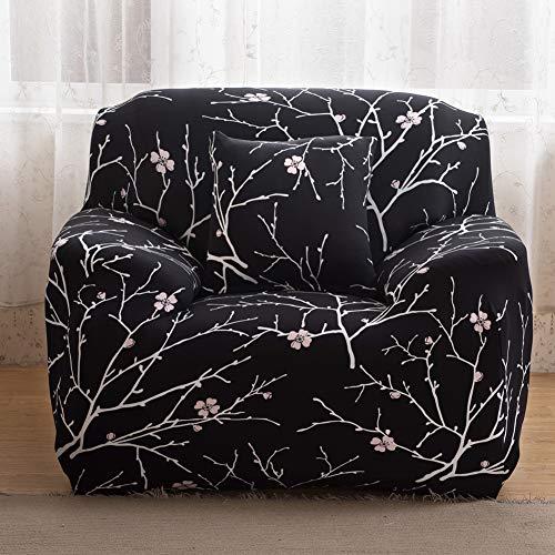 ENCOFT 1/2/3/4 Sitzer Sofabezug Sofaüberwurf Stretch weich Elastisch Farbecht Elastischer Sofa-Überwürfe Antirutsch Stretch Sofaüberzug (Schwarz, 1 Sitzer)