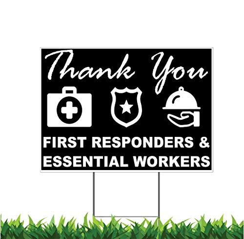 M&R Black with Icons Thank You Stay Safe, Health Care, First Responders, Essential Workers 18x24-inch Yard Sign (Outdoor, Weatherproof Corrugated Plastic) Metal H-Stake Included