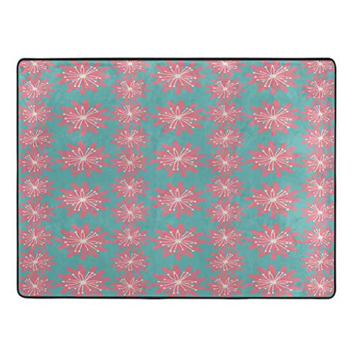Outdoor Area Rug Germinating Plants Wildflowers Twigs Sprouts Buds Lively Rustic Patio Print Area Rug for Boys Girls Living Room 3.3' x 5.25' Teal Pink White