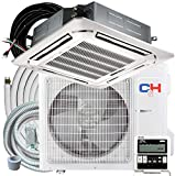 Cooper & Hunter 24,000 BTU Ceiling Cassette Ductless Mini Split AC/Heating System with Heat Pump Wall Thermostat and Installation Kit