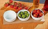 Vetrineinrete® Set aperitivo 3 ciotole in porcellana con vassoio in bamboo antipastiera finger food