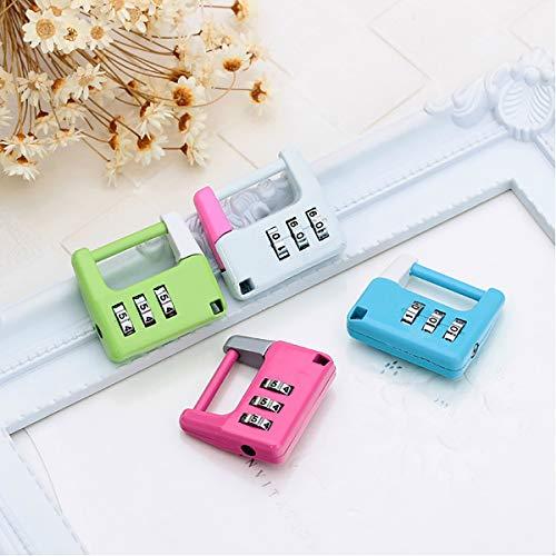 1 candado de combinación multicolor de 3 dígitos, candado de seguridad reajustable de 36 x 33 mm, resistente a la intemperie con código de bloqueo resistente para maletas, equipaje, etc.