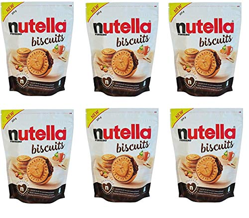6 Confezioni da 304gr. di NUTELLA BISCUITS, biscotti croccanti dal cuore morbido ripieno del gusto unico di NUTELLA FERRERO, 6x304 gr