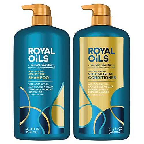 Head amp Shoulders Royal Oils Dandruff Shampoo Conditioner with Coconut Oil and Apple Cider Vinegar Curly Hair Products 314 Oz Each White 1 Count