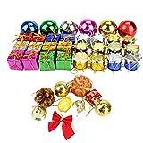 Juego de adornos para el árbol de Navidad, 108 piezas, cristales de nieve, adornos de bolas accesorios, conos de pino, tarjeta de regalo, regalos envueltos y campanas - mini adornos para el árbol