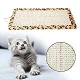 Rascador para gatos de sisal, rascador para gatos y gatos, para arañar el suelo, alfombrilla para dormir para gatos y gatitos (estampado de leopardo)