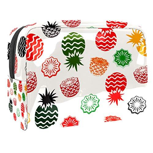 Bolsa de maquillaje portátil con cremallera, bolsa de aseo de viaje para mujer, práctica bolsa de almacenamiento de cosméticos, piña, color blanco