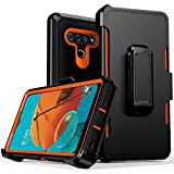 Compatible with LG K51 Case,LG Q51/LG Reflect Case, Heavy Duty Hard Shockproof Armor Protector Case Cover with Belt Clip Holster for 2020 LG K51 Phone (Black+Orange)
