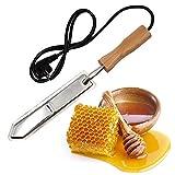 GMKD Miel Desoperculador Cuchillo, Extractor de Miel raspador eléctrico con Mango de Madera, Acero para Herramientas de Acero de Corte de la Miel del Apicultor para la Apicultura