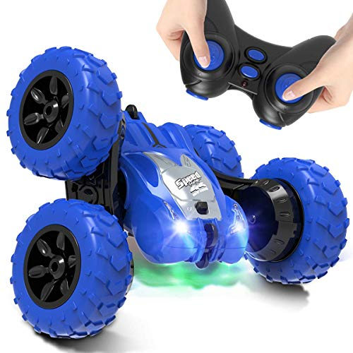 AFUNX Remote Control Car,RC Stunt Double Sided 360° Rolling Rotating Rotation Cars, High Speed Off Road Racing Truck for 3 4 5 6 7 8-12 Year Old Boy Kids Toy (Blue)