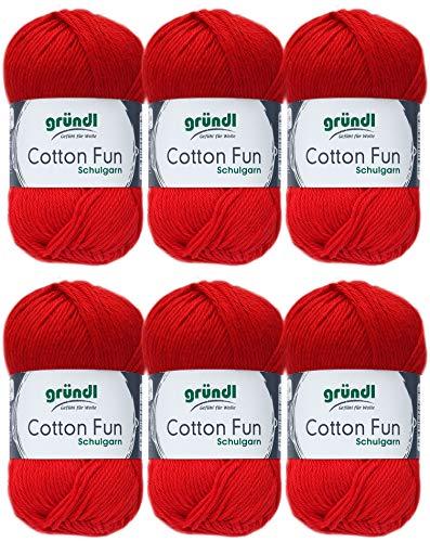 Gründl Cotton Fun Wolle Set 6x 50 Gramm Rot 06 aus 100% Baumwolle