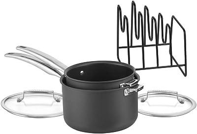 CUISINART N6119-5 SmartNest Hard-Anodized Nesting Saucepan Set, 5 Piece, Black