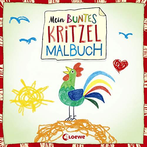 Mein buntes Kritzel-Malbuch (Hahn): Kritzelbuch mit über 40 farbigen Motiven für Kinder ab 2 Jahre -  Erstes Kritzeln und Ausmalen für Mädchen und Jungen
