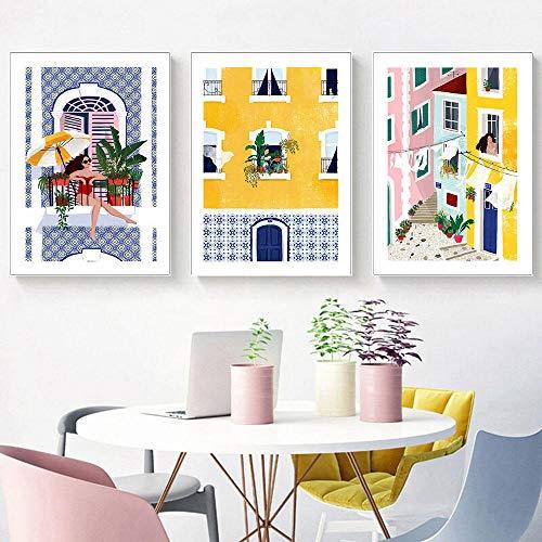 Lienzo Pintura Lisboa Chica Póster Ventana Planta Ciudad Calle Impresión Arte de la pared Imagen de viaje amarilla en la decoración de la pared Decoración de la habitación | 30x40cmx3 Sin marco