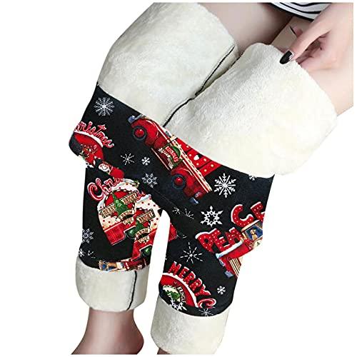 URIBAKY - Legging, elásticos de forro polar térmico para mujer, mallas, mallas, mallas, fantasía, elegante, estampado de Navidad, pantalones cálidos para otoño e invierno, talla alta, B-rojo., XL