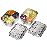 Stainless Steel Bento Box,DERUI CREATION 2PC Food Grade Lunch Bento Box for Kids,Adult Sandwich Containers with Compartments,Dishwasher Safe,BPA Free