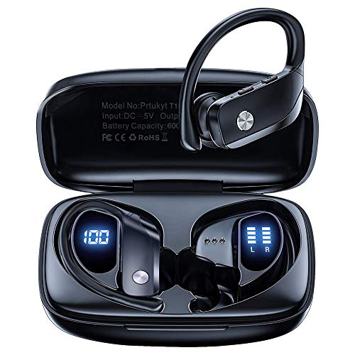Auriculares Inalámbricos, Audífonos para Correr con Bluetooth 5.0, In-Ear Auriculares de Bajos Profundos Impermeable IPX5 con Estuche de Carga para Deporte y Correr en Gimnasio