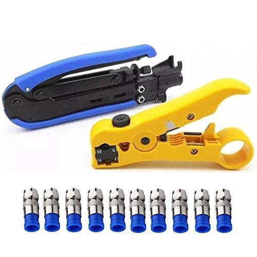 Gaobige Coaxial Compression Tool Coax Cable Crimper Kit Adjustable rg6 rg59 rg11 75-5 75-7 Coaxial Cable Stripper with 10pcs F Compression Connectors - Blue