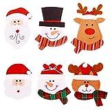 Decoraciones navideñas, 6 unidades, soportes para cubiertos de Navidad, bolsillos para...