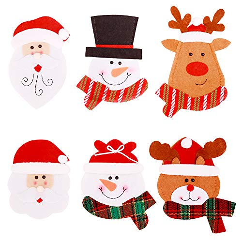 6 pezzi Portaposate natalizie Porta Decorazioni natalizie oggetti argenteria Tasche...