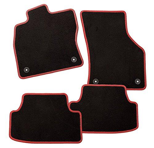 CarFashion ExquiPlus | pasvorm auto vloermatten | voetmat velours in zwart antraciet | hoogglans rand | 4-delige auto vloermatten set met mathouder Starlight VW Golf VII rood