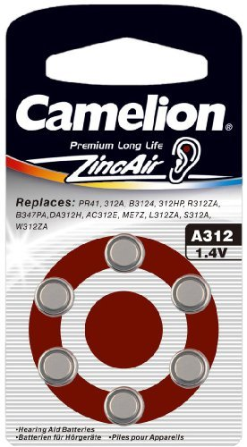 10 x 6 Camelion A312 ZA312 PR41 Zink-Air Hörgeräte-Batterie 160 mAh 1,4 V