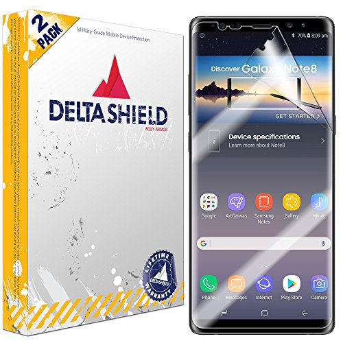 DeltaShield Screen Protector for Samsung Galaxy Note 8 (2-Pack)(Case Friendly Wide) BodyArmor Anti-Bubble Military-Grade Clear TPU Film