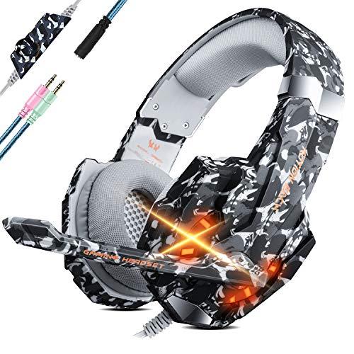 Unisun Gaming Headset für PS4/PC/Xbox One, Camouflage Gaming Kopfhörer Cool LED 7.1 Surround Sound 50 MM Treiber mit Noise Cancelling Mikrofon,Atmungsaktive Ohrenschützer Compatible with 3,5mm Jack