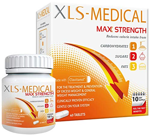 XLS-Medical Max Strength Tablets - Reduce Calorie Intake from Carbohydrates, Sugars and Fats, 40 Tablets, 10 Days Treatment