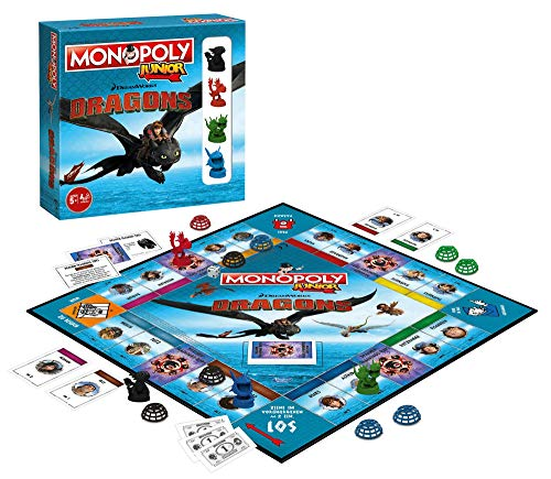 Winning Moves Monopoly Junior 2nd Edition Dragons Spiel Gesellschaftsspiel Brettspiel deutsch, Dragons:Monopoly + 3 extra Figuren
