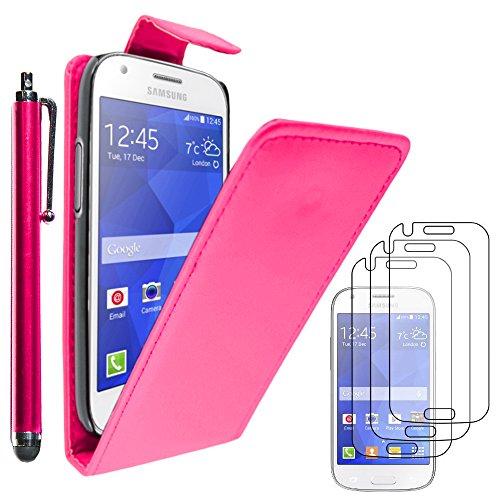 ebestStar - Coque Compatible avec Samsung Ace 4 Galaxy SM-G357FZ Etui Housse PU Cuir Rabat Flip + Stylet + 3 Films d'écran, Rose [Appareil: 121.4 x 62.9 x 10.8mm, 4.0'']