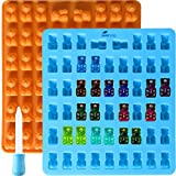 2 Pack 53 Cavity Silicone Gummy Bear Mold with a Bonus Droppers Making Gummy Candy Chocolate with Your Kids Together
