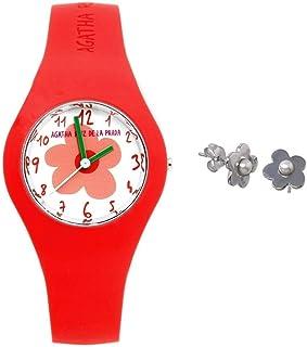Juego Agatha Ruiz de la Prada reloj AGR220 rojo anaranjado pendientes plata Ley 925m perla - Modelo: AGR220