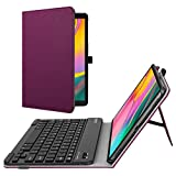 Fintie Folio Keyboard Case for Samsung Galaxy Tab A 10.1 2019 Model SM-T510/T515/T517, Premium PU Leather Stand Cover with Removable Wireless Bluetooth Keyboard, Purple