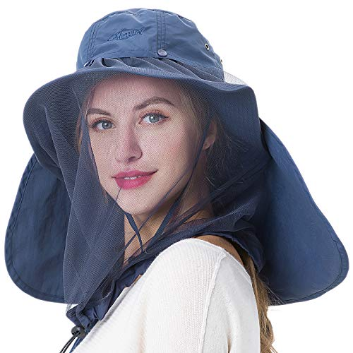 Palmyth Mosquito Head Net Hat Safari Hiking Fishing Hats Sun Protection Water Repellent Bucket Boonie Hats with Removable Neck Flap Hidden Net UV UPF 50+ from Bug Insect for Men Women Outdoor (Navy)